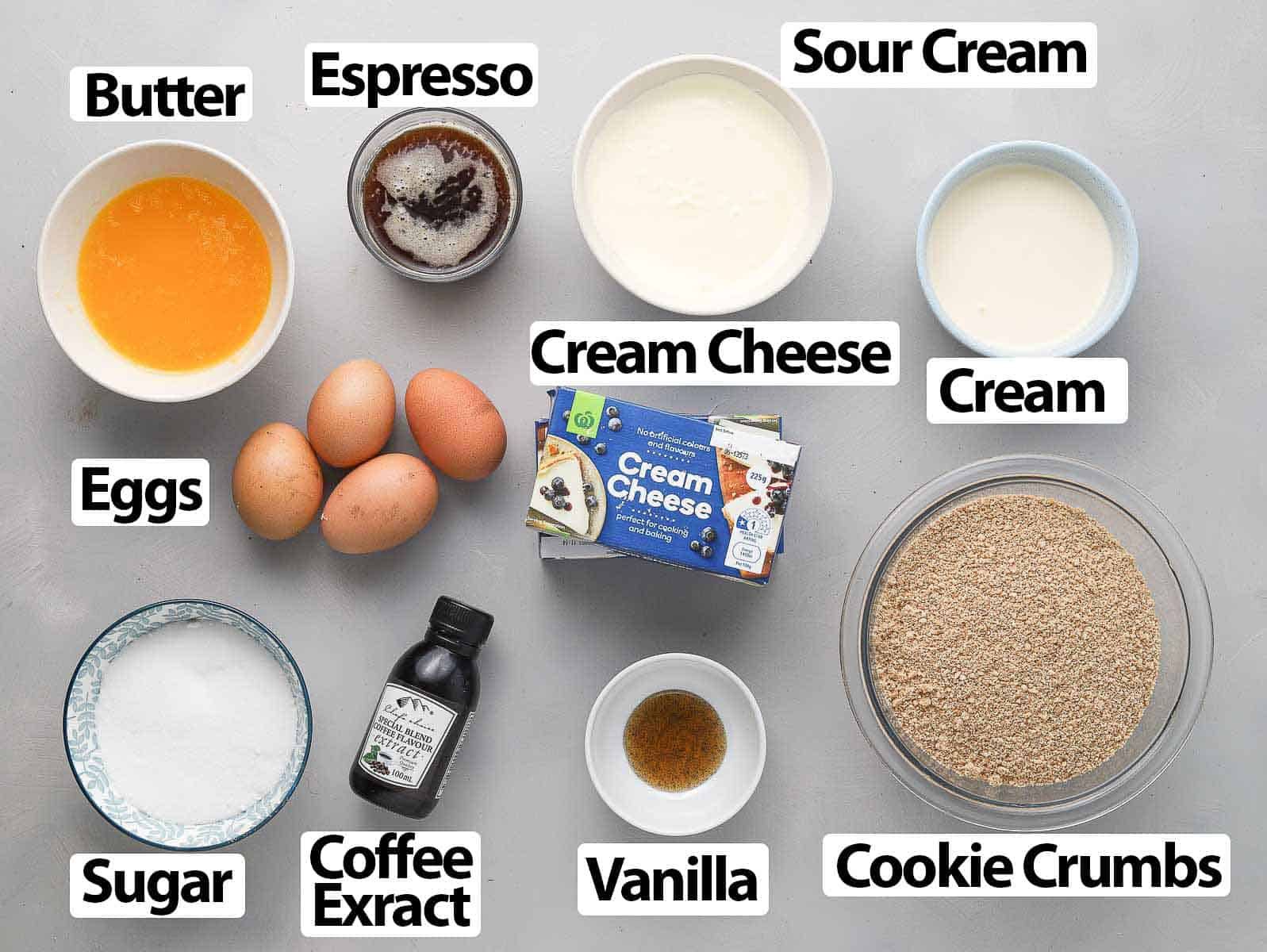 Ingredients on a grey surface.