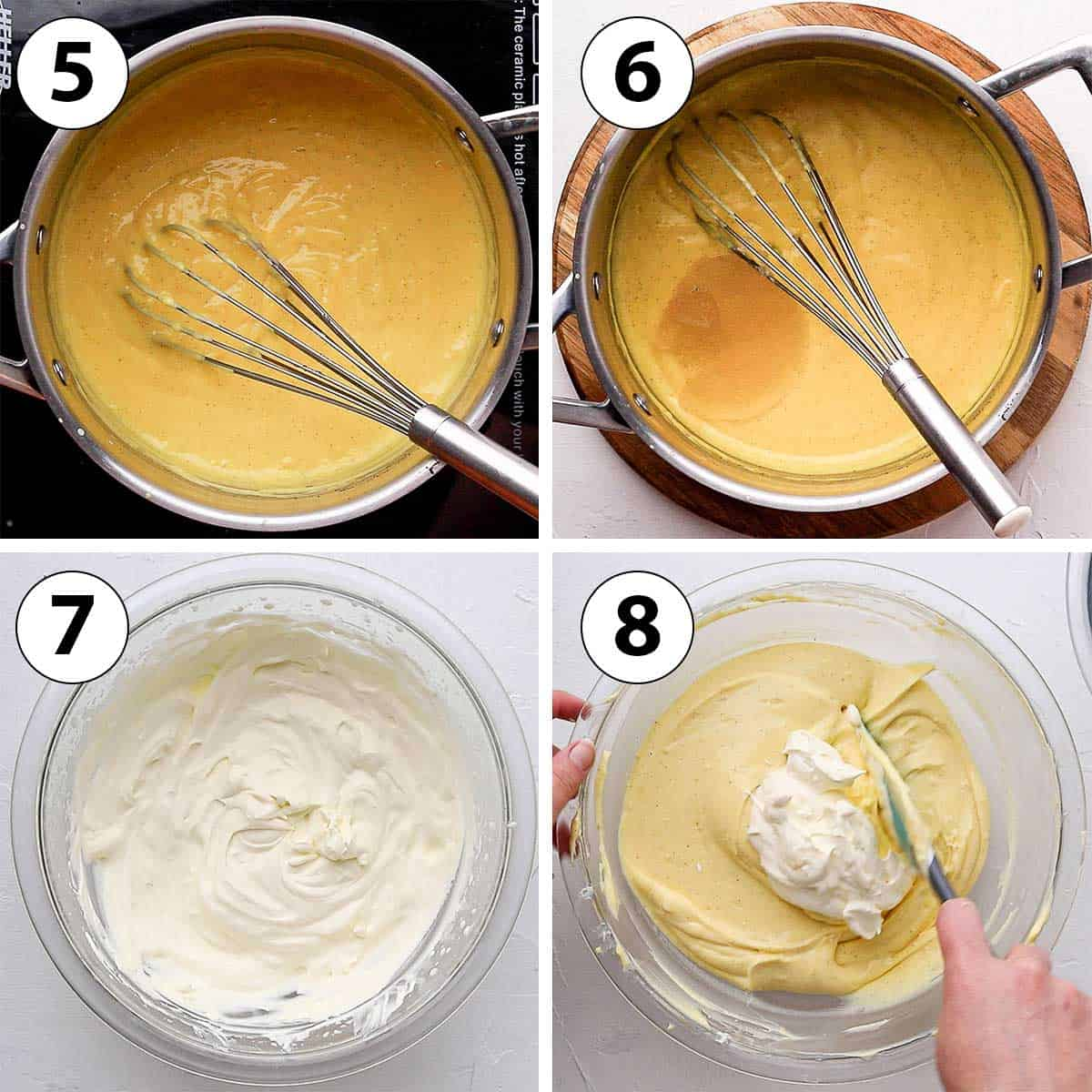 Process Shot Collage: cooking the pastry cream, adding gelatine and whipped cream.